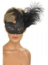 Venetian Colombina Ornate Black Feather Eye Mask